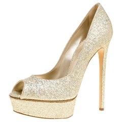 Casadei Glitter Lamé Fabric Daisy Peep Toe Platform Pumps Size 40