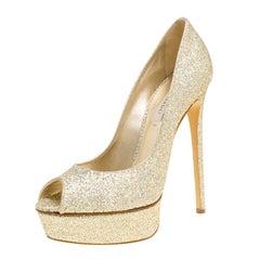 Casadei Gold Glitter Lamé Fabric Daisy Peep Toe Platform Pumps Size 40