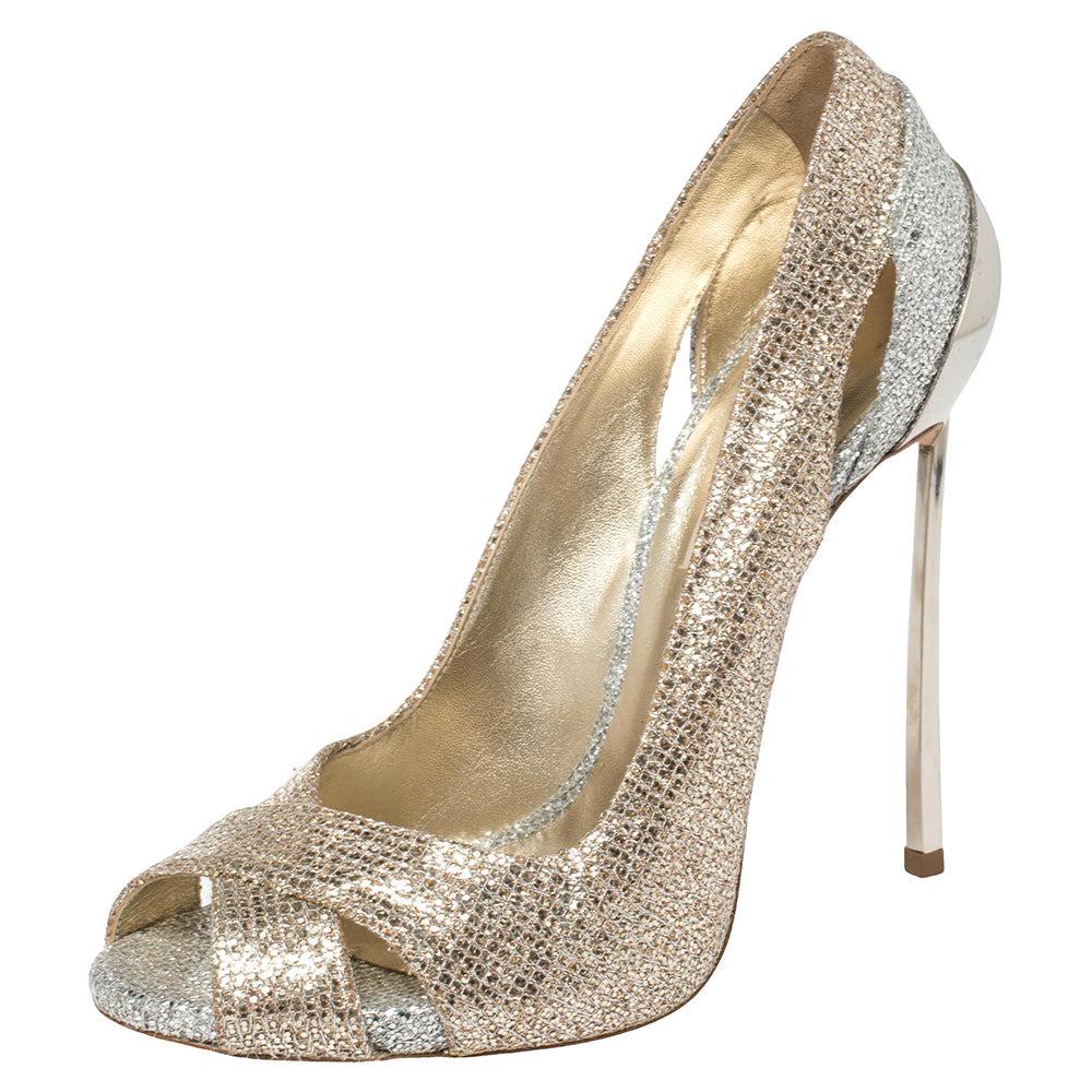 Casadei Gold/Silver Glitter Fabric Peep Toe Pumps Size 39