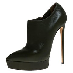 Casadei Green Leather Platform Pointed Toe Ankle Booties Size 37