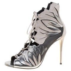Casadei Grey Laser Cut Suede and Leather Peep Toe Lace Up Booties Size 40