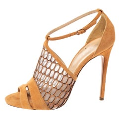 Casadei Light Ochre Mesh And Suede Honeycomb Pattern Ankle Strap Sandals Size 38