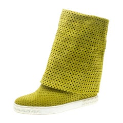 Casadei Lime Green Perforated Suede Wedge Boots Size 39