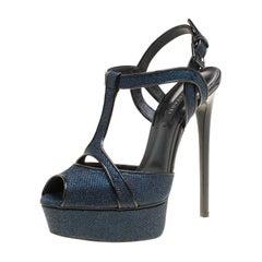Casadei Metallic Blue Gliiter Fabric T-Strap Peep Toe Platform Sandals Size 40