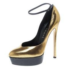 Casadei Metallic Embossed Gold Leather Ankle Strap Platform Pumps Size 39