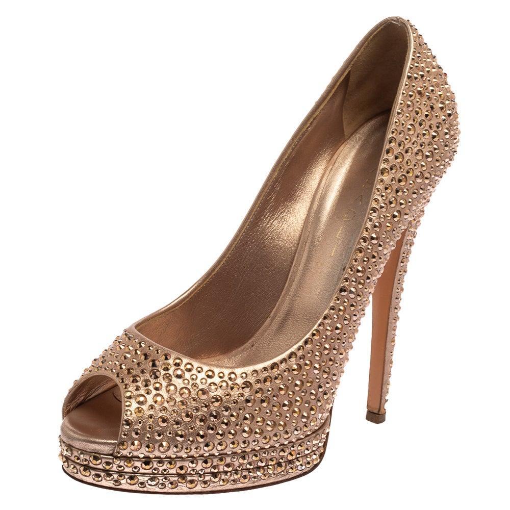 Casadei Metallic Gold Leather Crystal Embellished Peep Toe Pumps Size 40