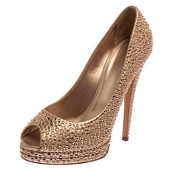Casadei Metallic Gold Leather Crystal Embellished Peep Toe Pumps Size 40
