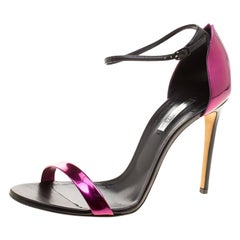 Casadei Metallic Magenta and Black Leather Ankle Strap Open Toe Sandals Size 41
