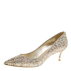 Casadei Metallic Multicolor Glitter Pointed Toe Pumps Size 39