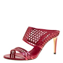 Casadei Metallic Red Leather Candylux Slide Sandals Size 38