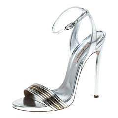 Casadei Metallic Silver Leather Blade Ankle Strap Sandals Size 37