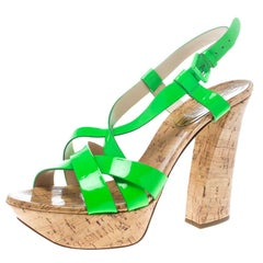 Casadei Neon Green Patent Leather Strappy Platform Cork Sandals Size 40