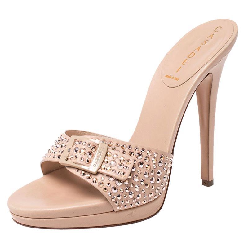 Casadei Nude Beige Studded Leather Buckle Sandals Size 37