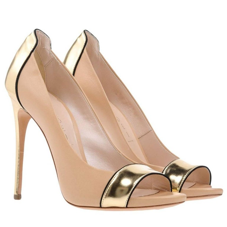 New Casadei Nude Gold Leather Stiletto Heels Pumps It. 39 - US 9