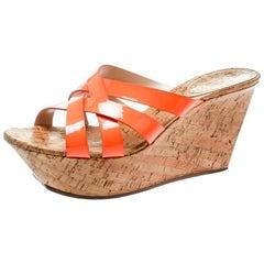 Casadei Orange Patent Leather Cross Strap Cork Wedge Platform Sandals Size 41