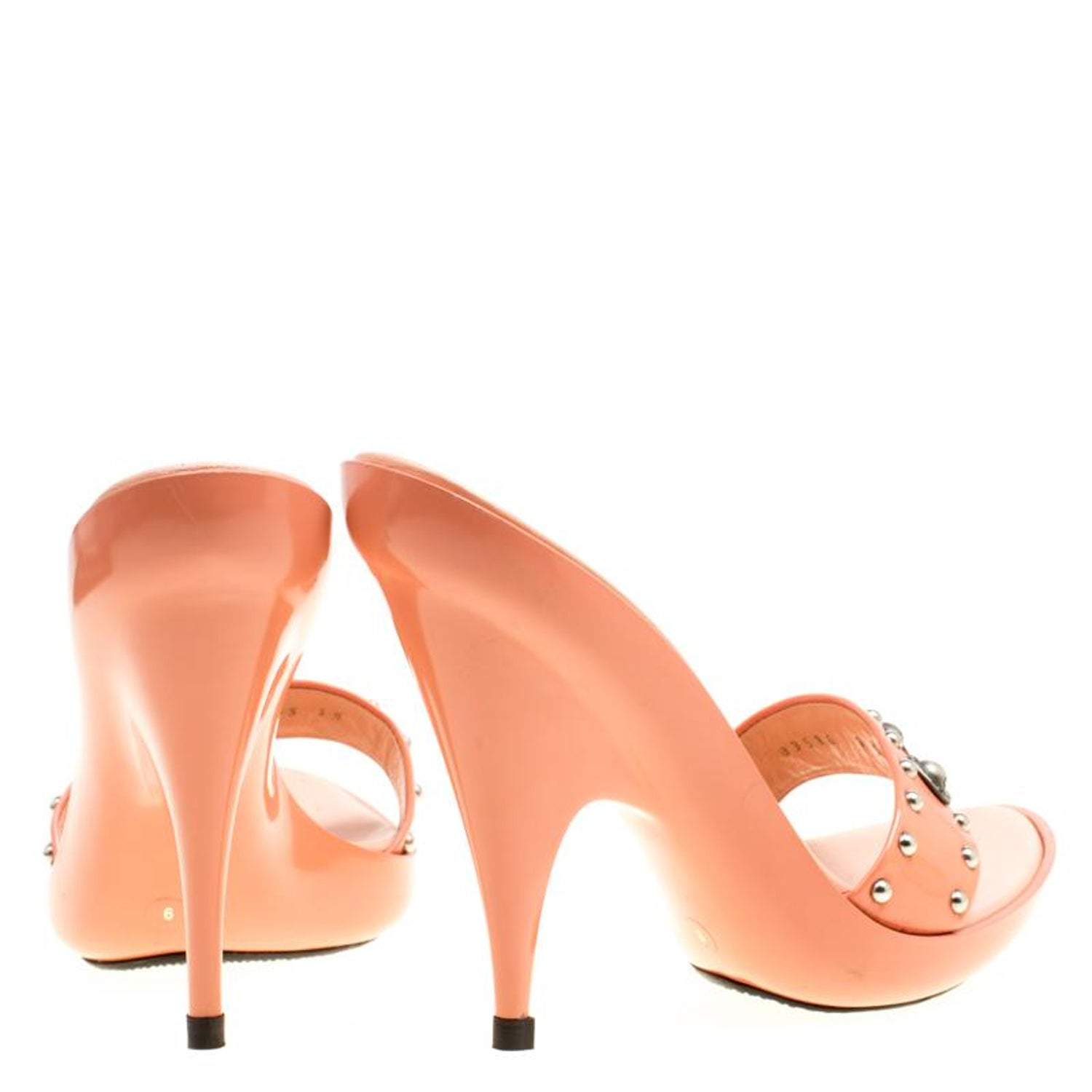 24ea407c87 Casadei Peach Patent Leather Studded Mules Size 39 For Sale at 1stdibs