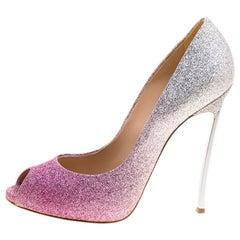 Casadei Pink and Silver Ombrè Glitter Pegasus Peep Toe Pumps Size 38.5