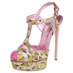 Casadei Pink Leather And Jacquard Bee Motif Sandals Size 38
