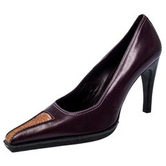 Casadei Purple And Brown Leather Pointed Toe Pumps Size 37.5