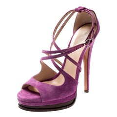 Casadei Purple Suede Cross Strap Platform Sandals Size 37.5