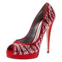 Casadei Red Satin Embellished Platform Peep Toe Pumps Size 39