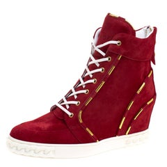Casadei Red Suede High Top Wedge Sneakers Size 37