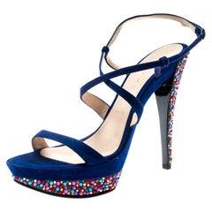Casadei Royal Blue Suede Crystal Ankle Wrap Platform Sandals Size 36.5