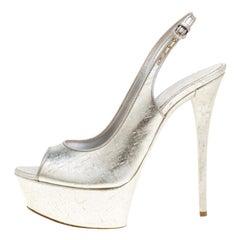 Casadei Silver Leather Pellame Peep Toe Slingback Sandals Size 39.5