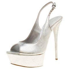 Casadei Silver Leather Pellame Peep Toe Slingback Sandals Size 39.5