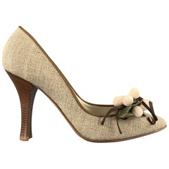 CASADEI Size 7.5 Taupe Fabric Grape Leaves Embellishd Pumps