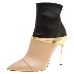 Casadei Tricolor Leather Pointed Toe Ankle Boots Size 37