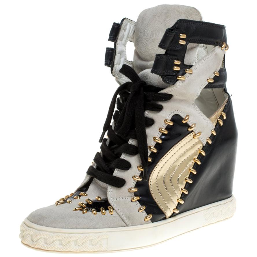 Casadei Tricolor Suede And Leather Studded High Top Wedge Sneakers Size 39