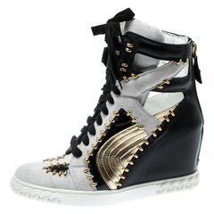 Casadei Tricolor Suede And Leather Studded High Top Wedge Sneakers Size 40