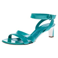 Casadei Turquoise Patent Leather Open Toe Cross Strap Mid Heel Sandals Size 36
