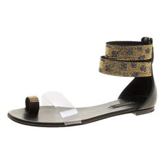 Casadei Two Tone Crystal Embellished Ankle Cuff and PVC Vinil Sandals Size 37
