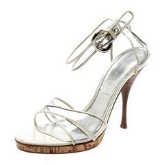 Casadei White Leather And PVC Cross Strap Sandals Size 39