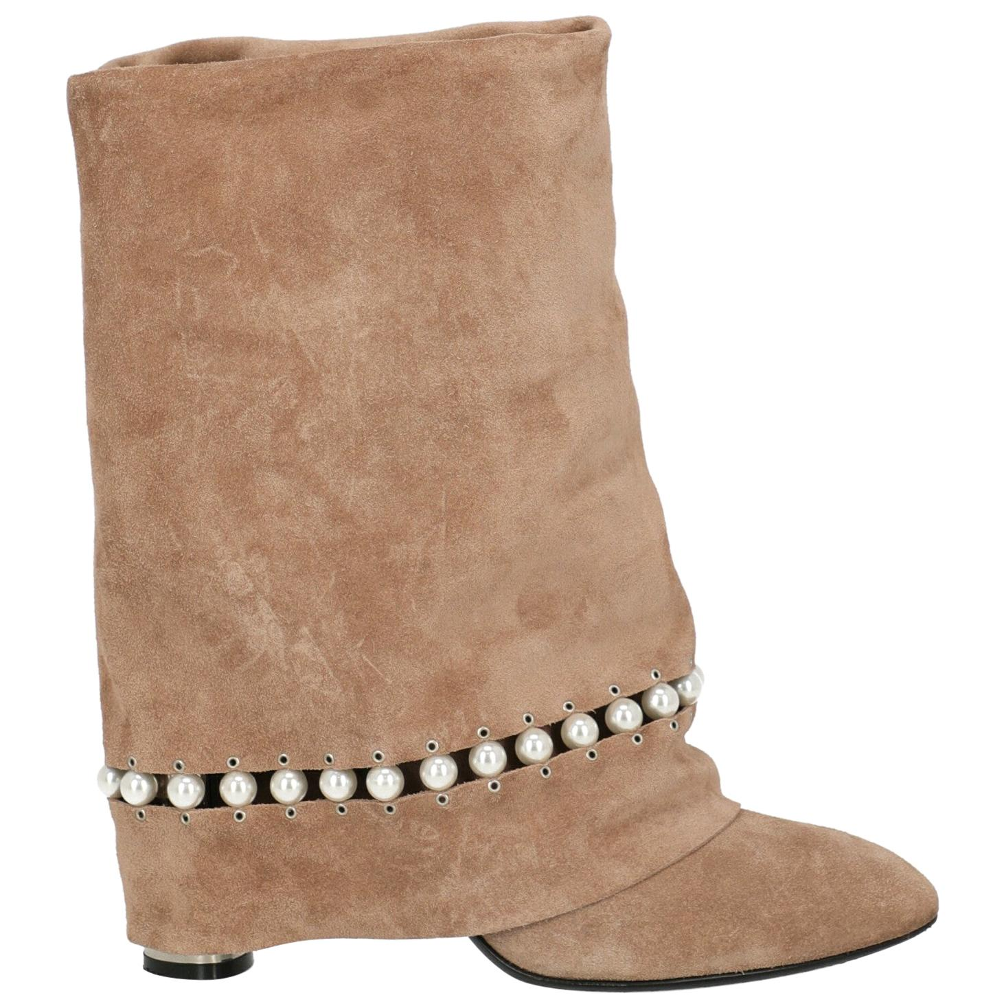 Casadei Woman Ankle boots Beige Leather IT 38