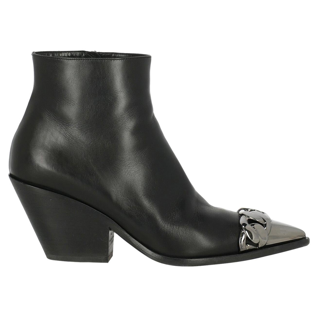 Casadei Woman Ankle boots Black Leather IT 38