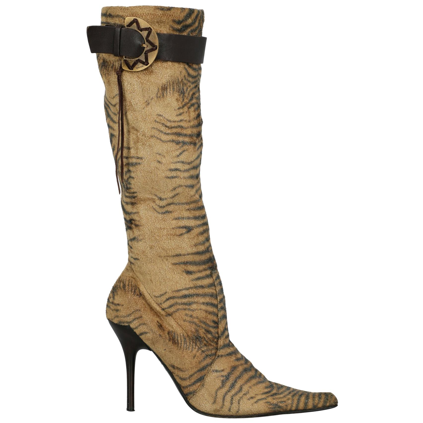 Casadei Woman Boots Beige Synthetic Fibers US 7.5