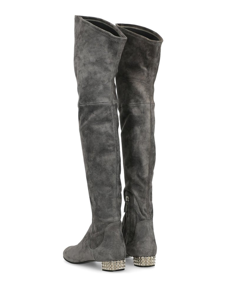 Gray Casadei Woman Boots Grey Leather US 7 For Sale