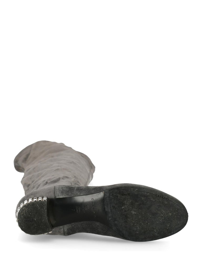 Casadei Woman Boots Grey Leather US 7 In Fair Condition For Sale In Milan, IT
