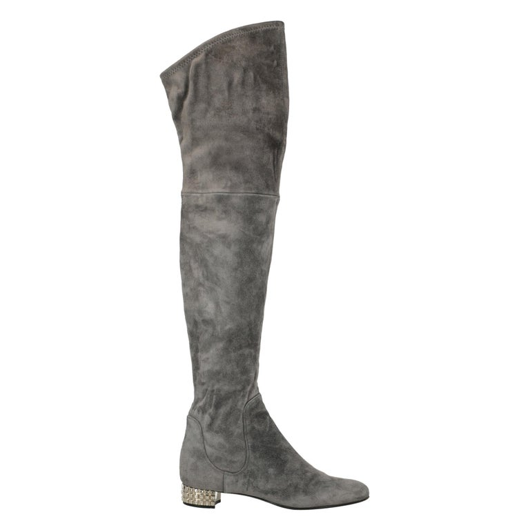 Casadei Woman Boots Grey Leather US 7 For Sale