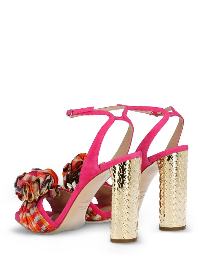 Pink Casadei Woman Sandals Gold Leather IT 35.5