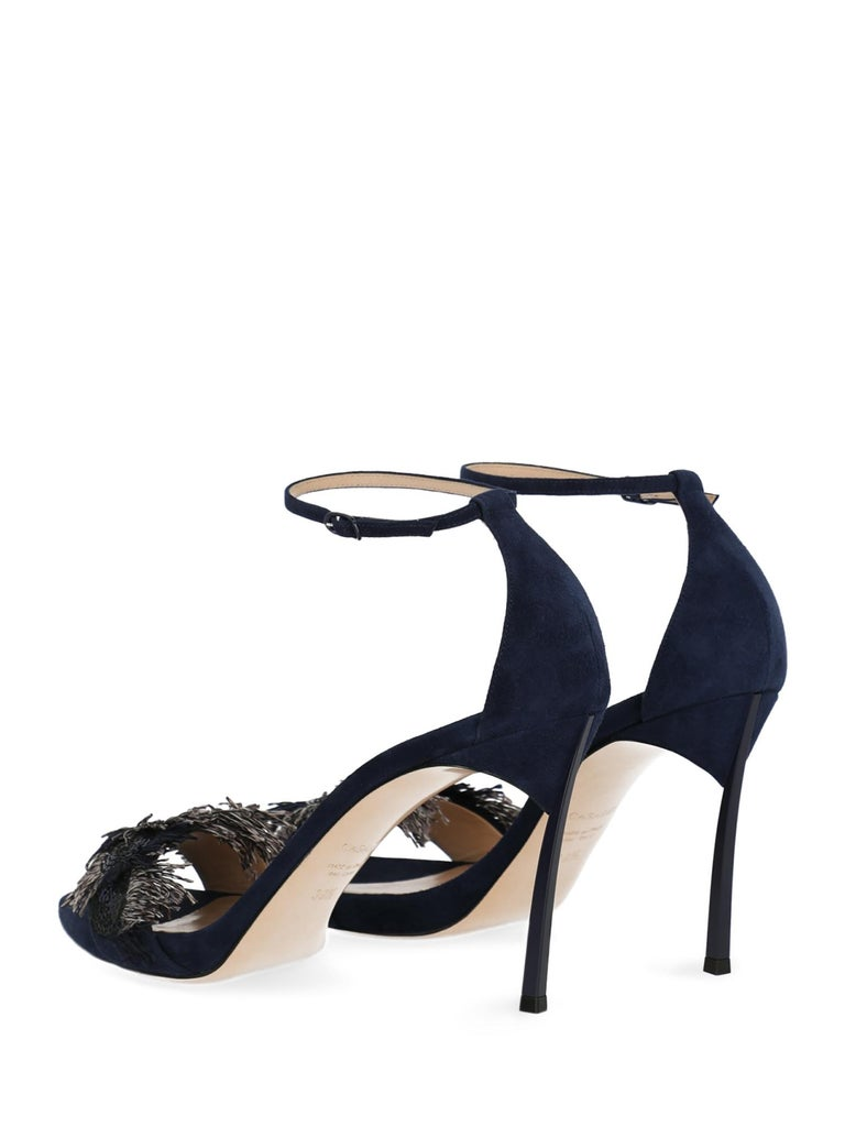 Black Casadei Woman Sandals Navy Leather IT 35 For Sale