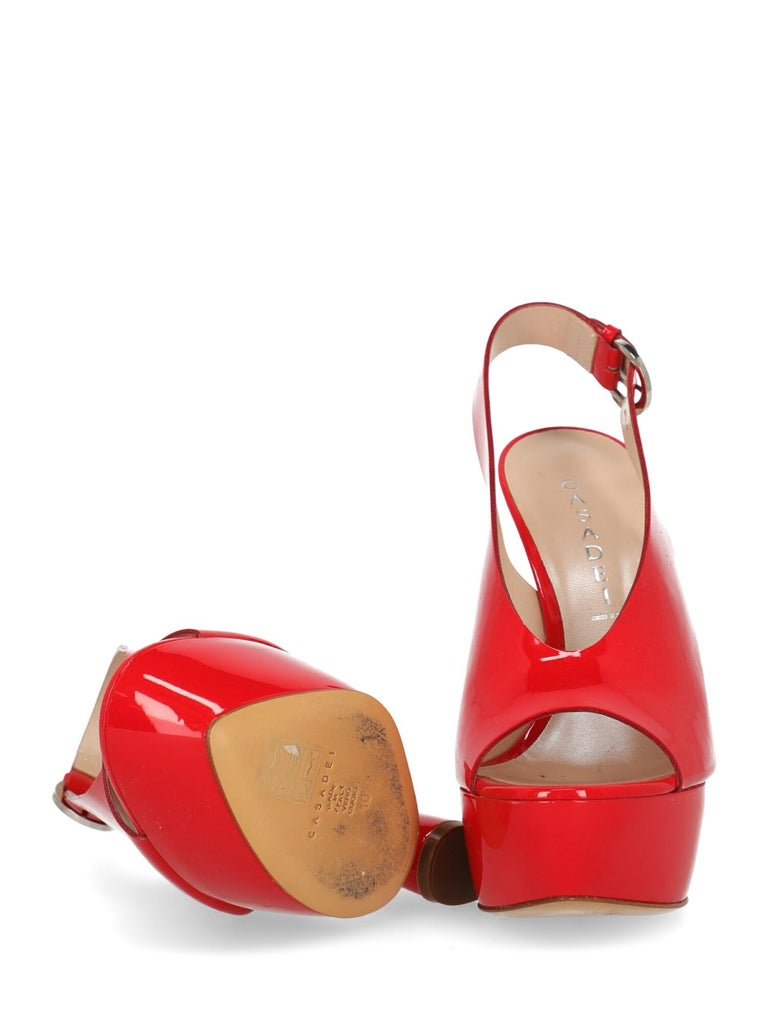 Women's Casadei Woman Sandals Red Leather  For Sale