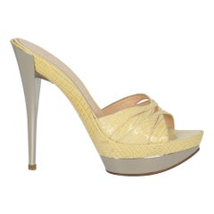 Casadei Woman Sandals Yellow Leather IT 38