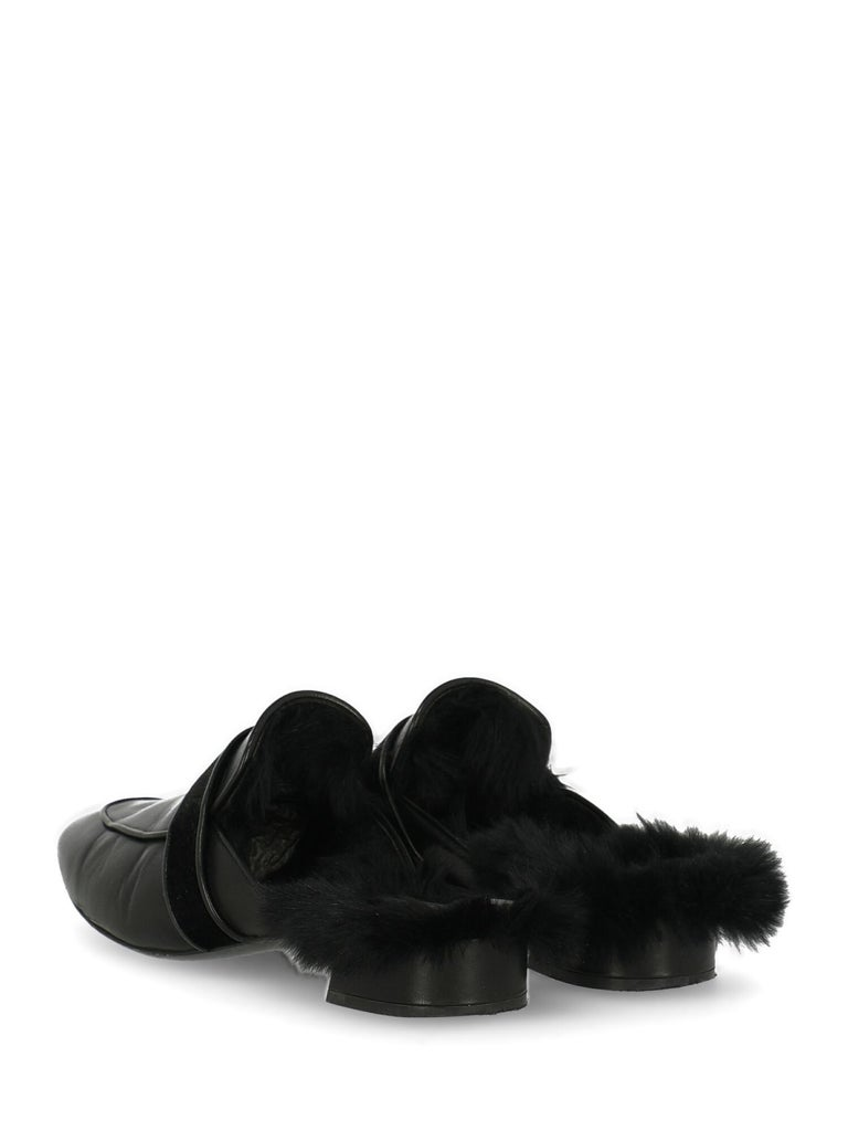 Casadei Woman Slippers Black Leather IT 37.5 In Good Condition For Sale In Milan, IT