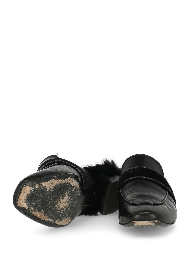 Women's Casadei Woman Slippers Black Leather IT 37.5 For Sale