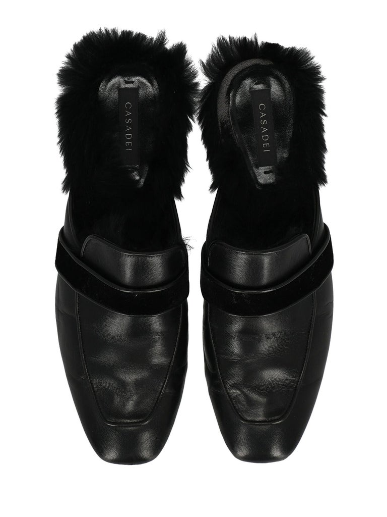 Casadei Woman Slippers Black Leather IT 37.5 For Sale 1