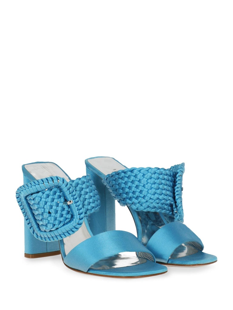 Product Description: Sandals, fabric, solid color, braided, silver-tone hardware, branded insole, branded sole, high heel  Includes: - Box - Product care - Heel tip replacement - Dust bag  Product Condition: Very Good Heel: visible mark. Upper: